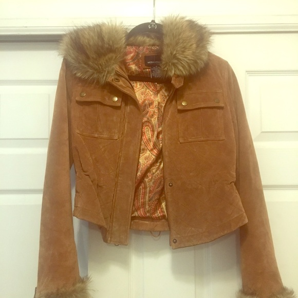 Moda International Jackets & Blazers - Suede jacket with fur collar and sleeves